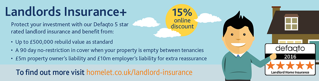 Landlords Insurance from Homelet with 15% online discount