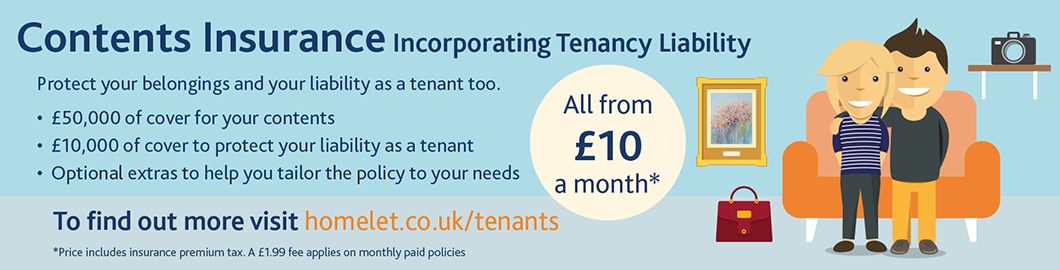 Graphical banner outlining Contents Insurance from HomeLet incorporating Tenancy Liability from £10 per month